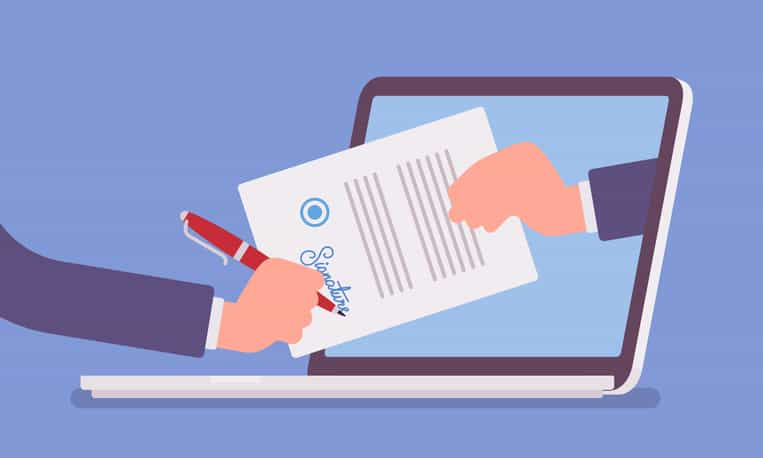 Going paperless with electronic signatures.